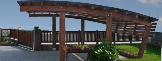 Carport, copertura auto legno roma Olimpo doppio