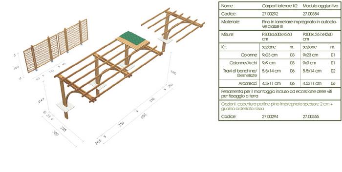 Carport, copertura auto roma K2 disegno tecnico