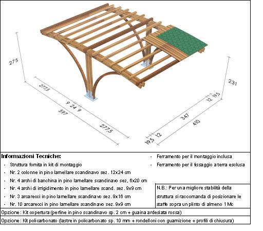 Carport, copertura auto roma Vesuvio disegno tecnico