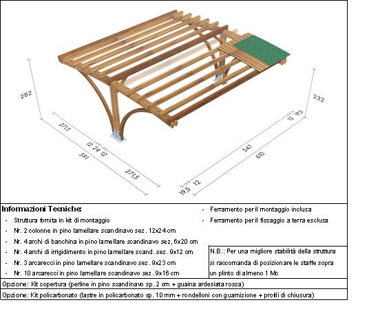 Carport, copertura auto roma Vesuvio disegno tecnico grande