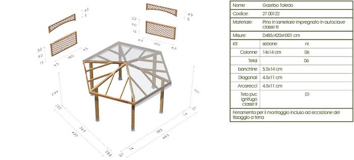 Gazebo roma Toledo disegno tecnico