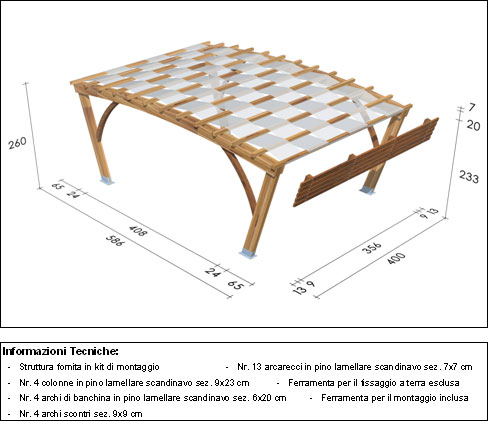 Pergola, roma Bridge disegno tecnico