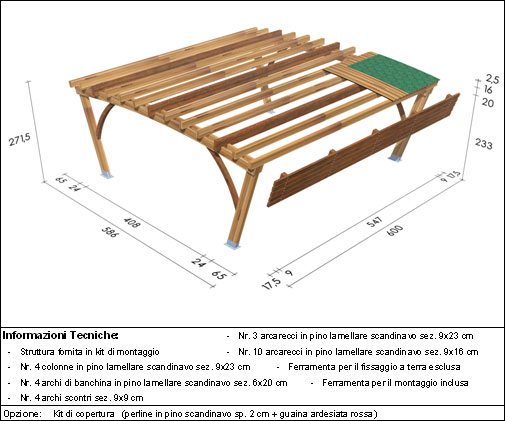 Pergola, roma Bridge disegno tecnico biposto