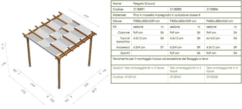 Pergola, roma Ground disegno tecnico