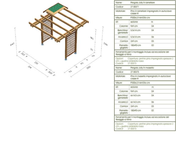 Progetto pergolato in legno