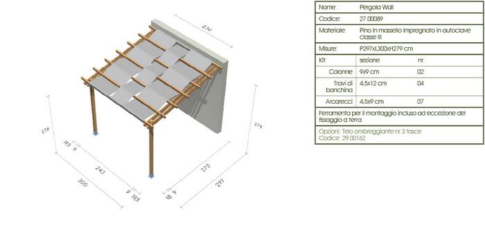 Pergola, roma Wall disegno tecnico